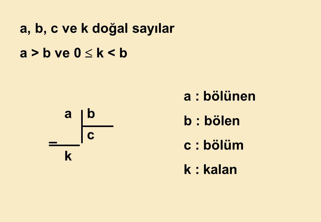 a, b, c ve k doğal sayılar a > b ve 0  k < b a : bölünen b : bölen c : bölüm k : kalan a b c k