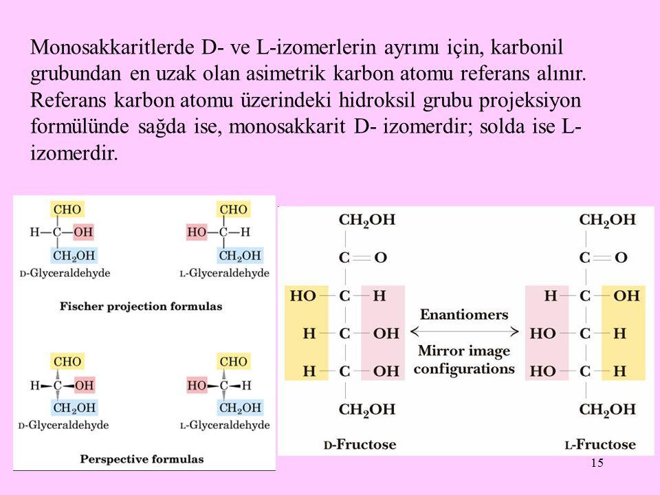 Monosakkaritlerde D- ve L-izomerlerin ayrımı için, karbonil grubundan en uzak olan asimetrik karbon atomu referans alınır.