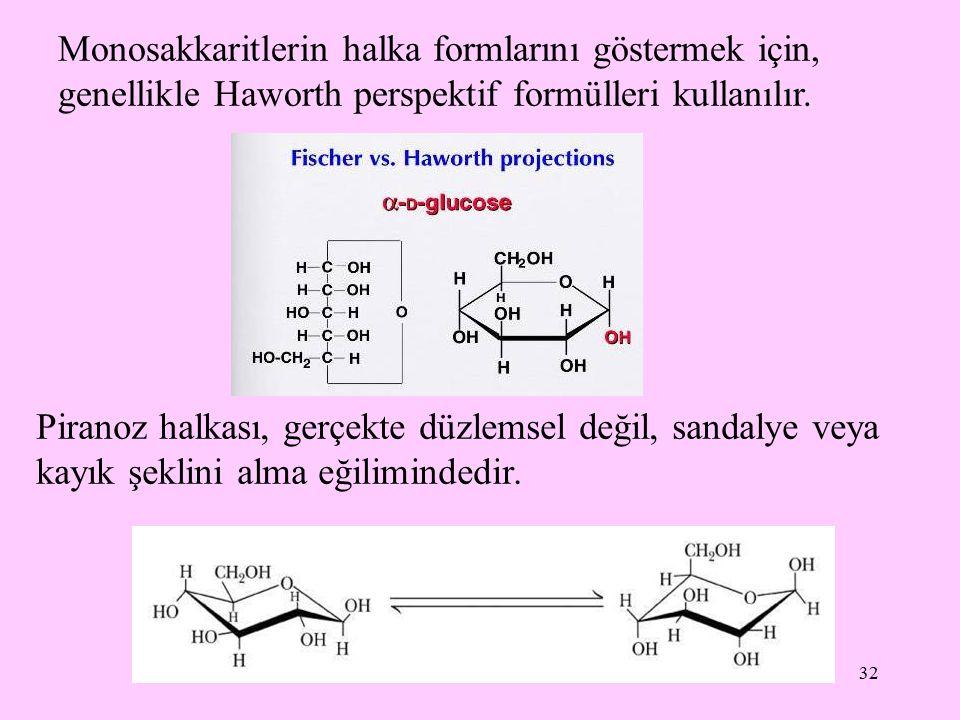 Monosakkaritlerin halka formlarını göstermek için, genellikle Haworth perspektif formülleri kullanılır.