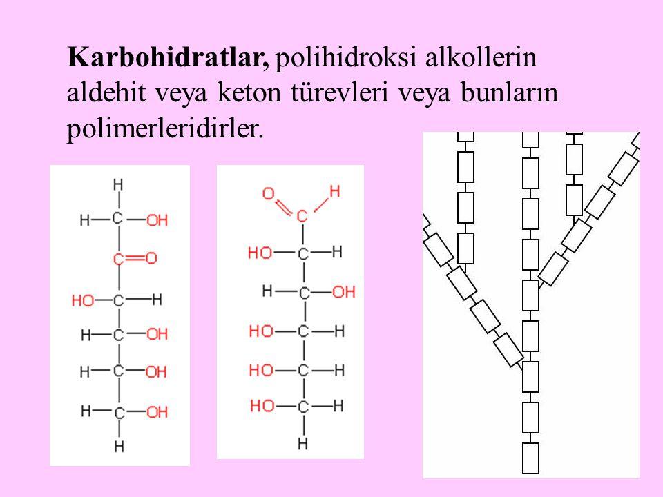 Karbohidratlar, polihidroksi alkollerin aldehit veya keton türevleri veya bunların polimerleridirler.