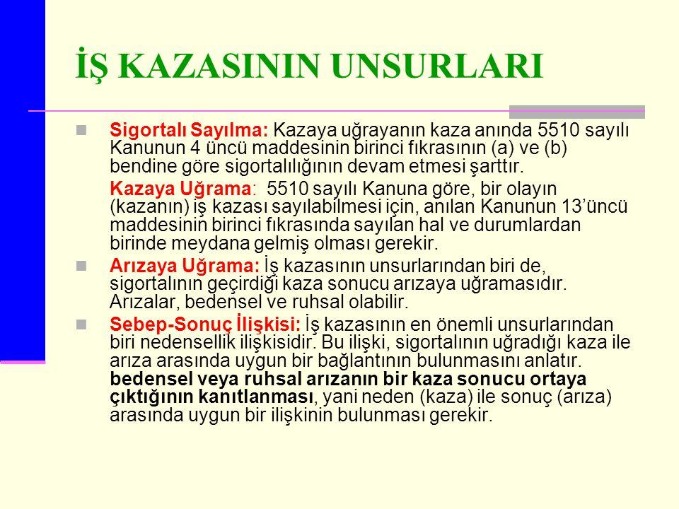İŞ KAZASININ UNSURLARI