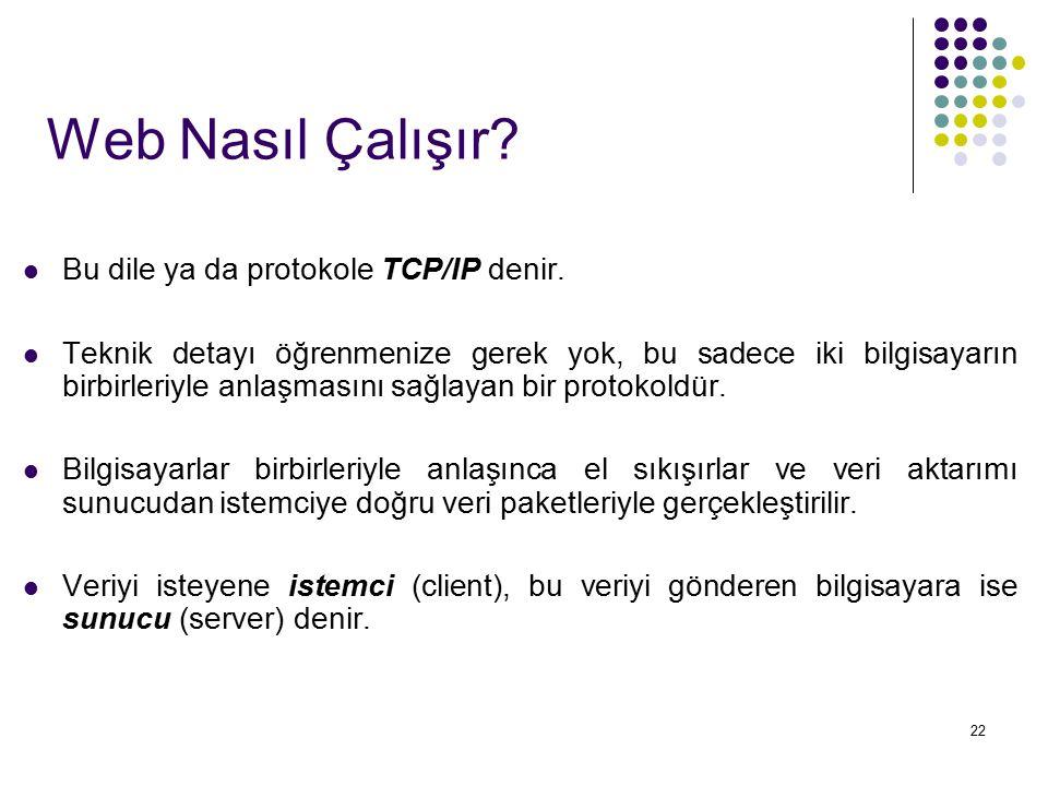 Web Nasıl Çalışır Bu dile ya da protokole TCP/IP denir.