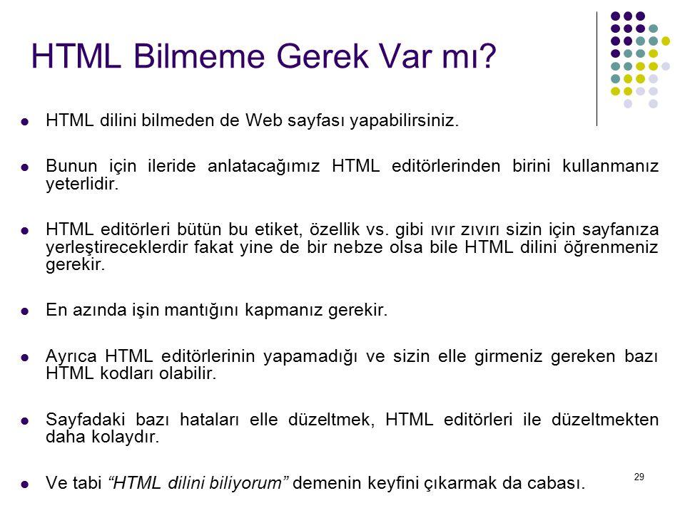 HTML Bilmeme Gerek Var mı