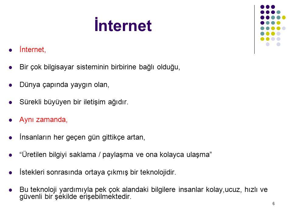 İnternet İnternet, Bir çok bilgisayar sisteminin birbirine bağlı olduğu, Dünya çapında yaygın olan,