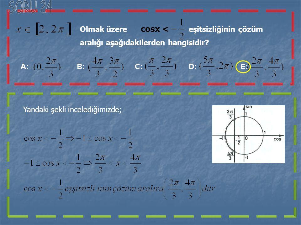 SORU 24 Olmak üzere cosx < eşitsizliğinin çözüm