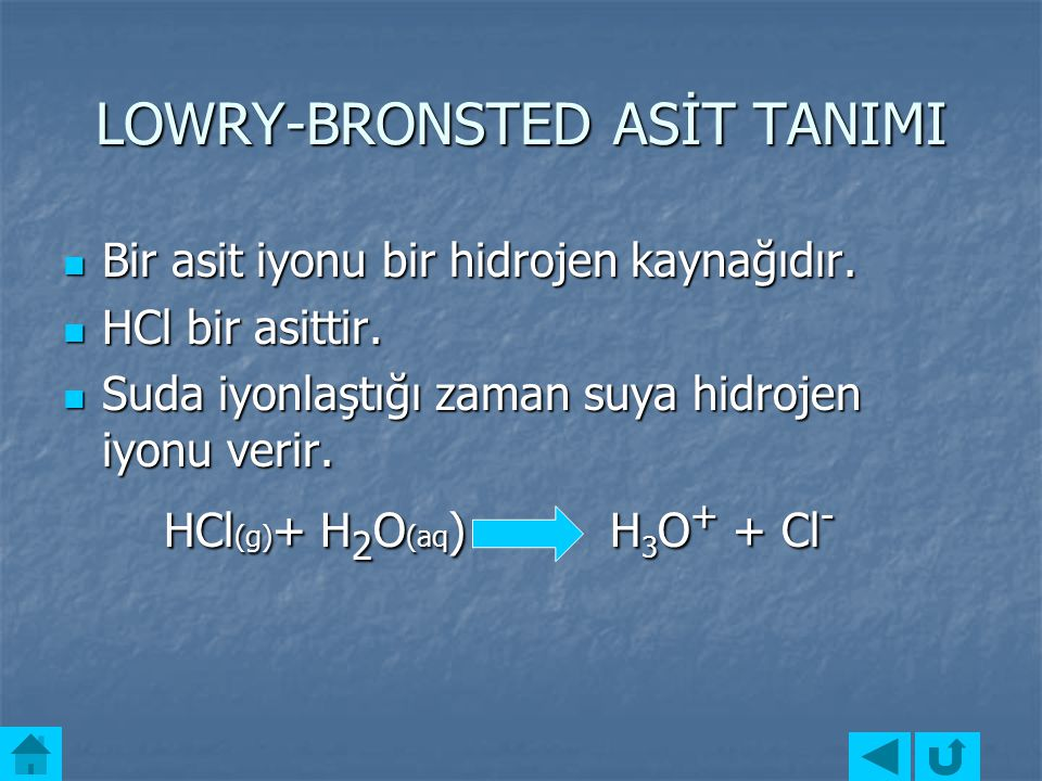 LOWRY-BRONSTED ASİT TANIMI
