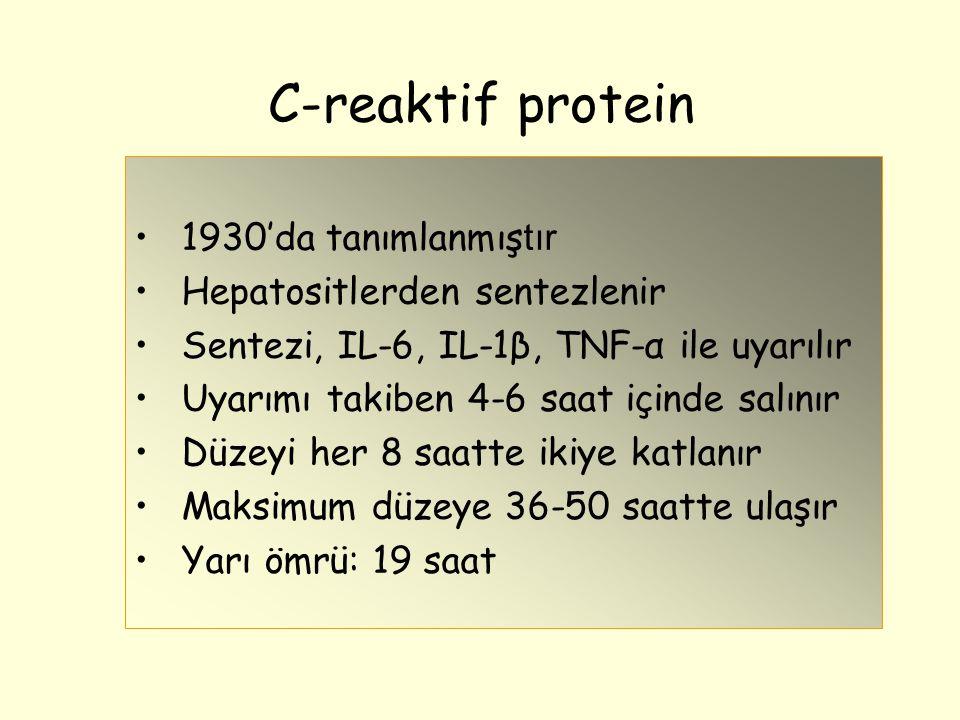 C-reaktif protein 1930'da tanımlanmıştır Hepatositlerden sentezlenir
