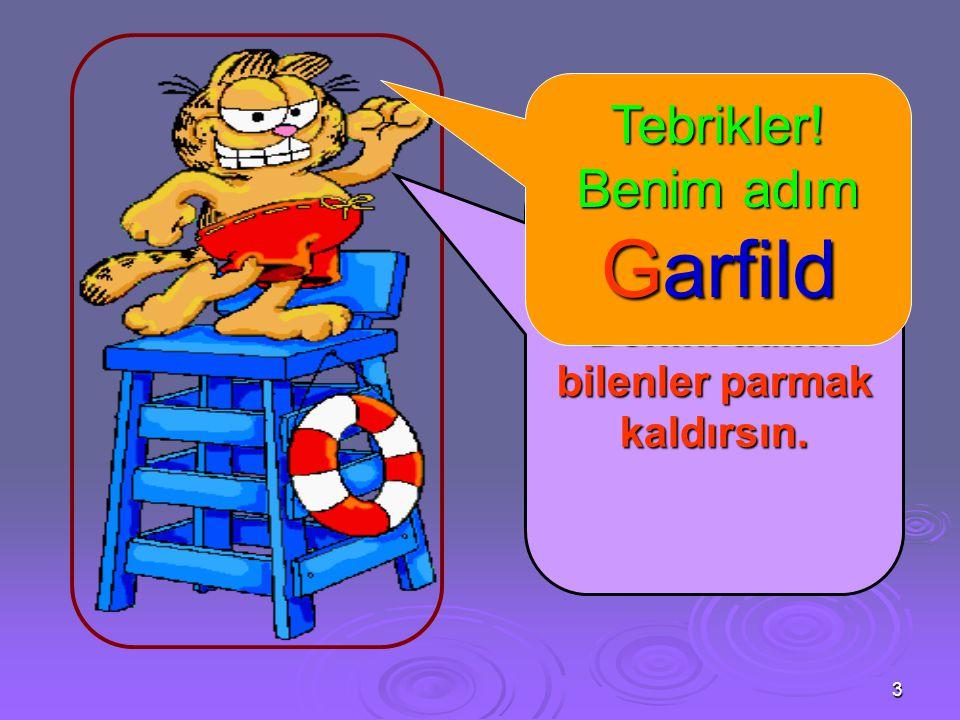 Tebrikler! Benim adım Garfild Hey çocuklar ! Benim adımı