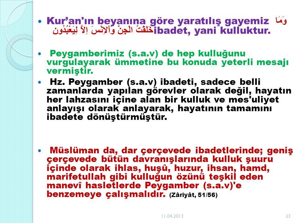 Kur'an ın beyanına göre yaratılış gayemiz وَمَا خَلَقْتُ الْجِنَّ وَاْلاِنْسَ اِلاَّ لِيَعْبُدُونِ ibadet, yani kulluktur.