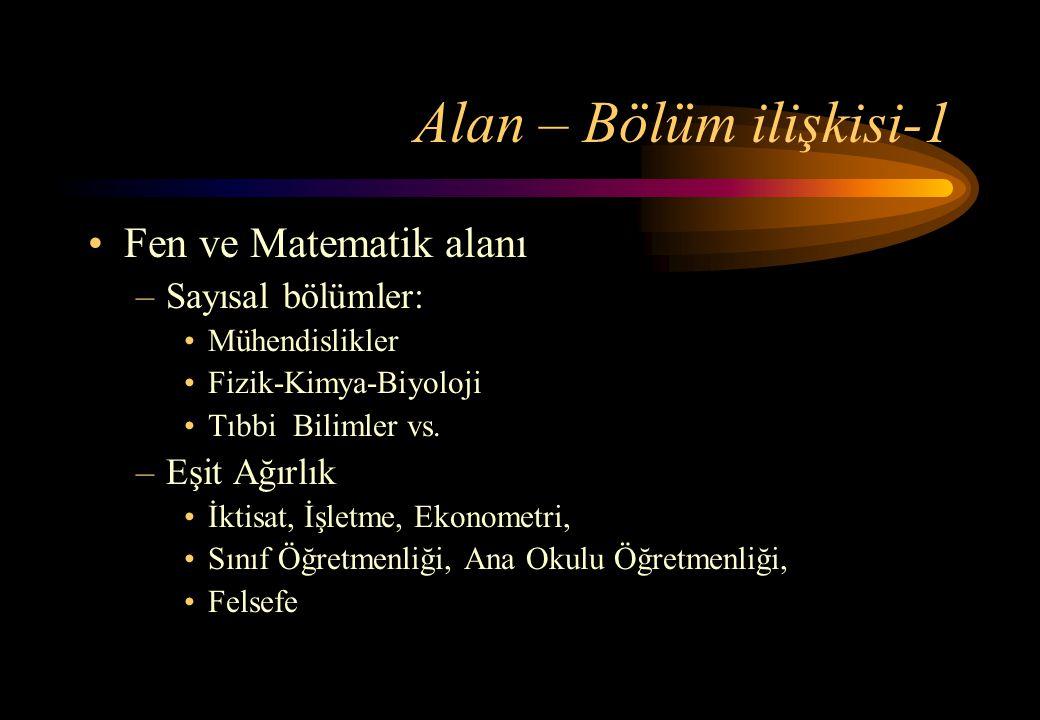 Alan – Bölüm ilişkisi-1 Fen ve Matematik alanı Sayısal bölümler: