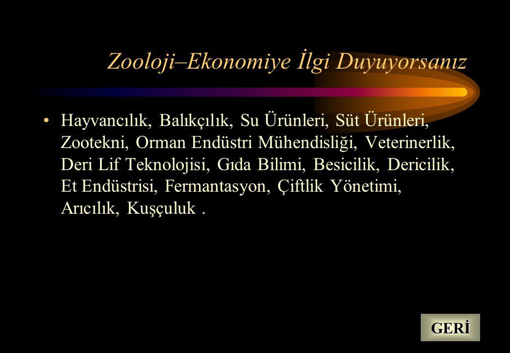 Zooloji–Ekonomiye İlgi Duyuyorsanız