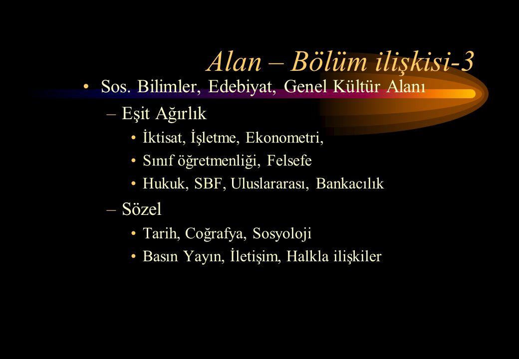 Alan – Bölüm ilişkisi-3 Sos. Bilimler, Edebiyat, Genel Kültür Alanı
