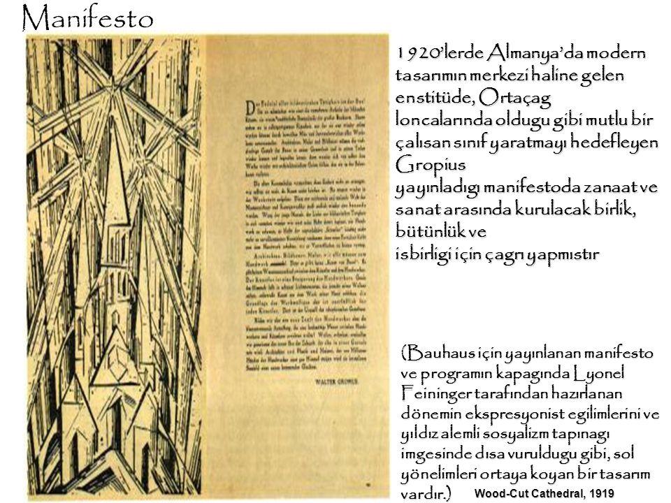 Manifesto 1920'lerde Almanya'da modern tasarımın merkezi haline gelen enstitüde, Ortaçag.