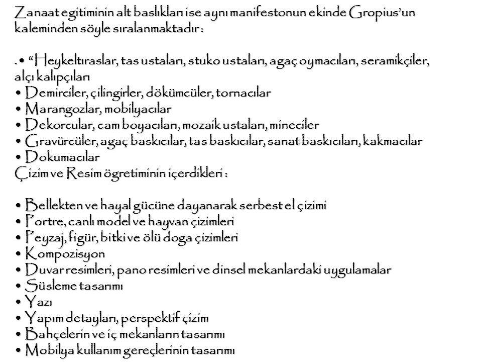 Zanaat egitiminin alt baslıkları ise aynı manifestonun ekinde Gropius'un