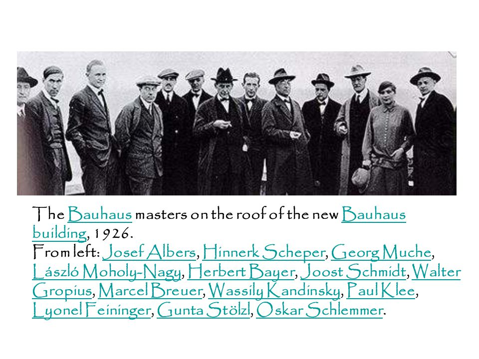 The Bauhaus masters on the roof of the new Bauhaus building, 1926