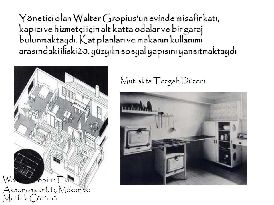 Yönetici olan Walter Gropius'un evinde misafir katı, kapıcı ve hizmetçi için alt katta odalar ve bir garaj bulunmaktaydı. Kat planları ve mekanın kullanımı arasındaki iliski20. yüzyılın sosyal yapısını yansıtmaktaydı