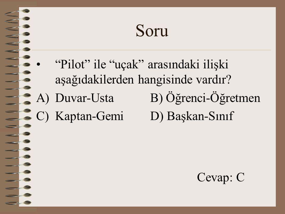 Soru Pilot ile uçak arasındaki ilişki aşağıdakilerden hangisinde vardır Duvar-Usta B) Öğrenci-Öğretmen.