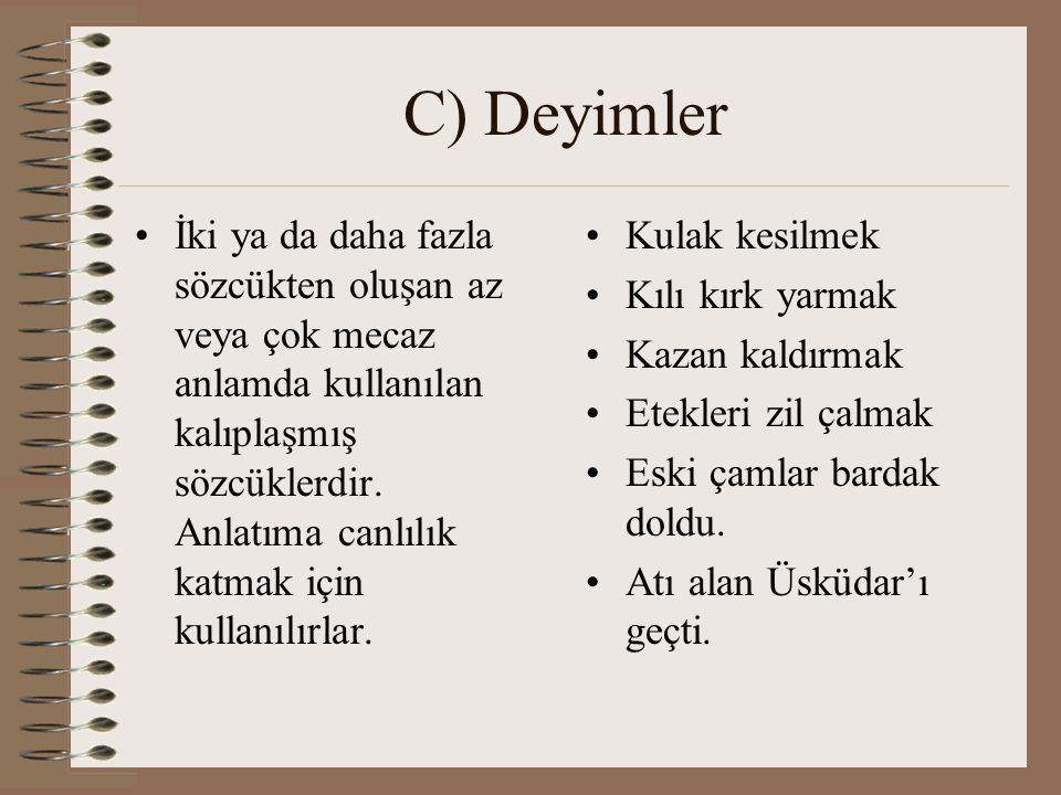 C) Deyimler