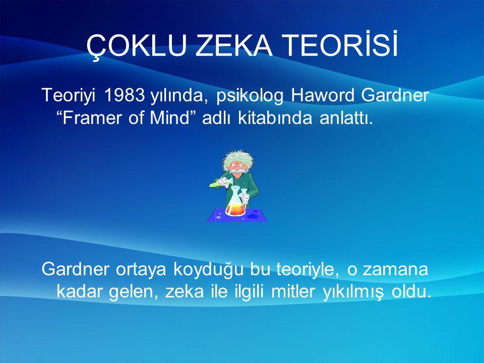 ÇOKLU ZEKA TEORİSİ Teoriyi 1983 yılında, psikolog Haword Gardner Framer of Mind adlı kitabında anlattı.