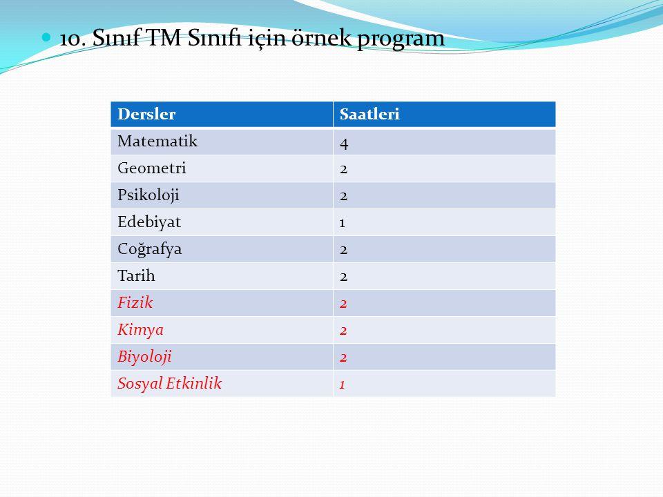 10. Sınıf TM Sınıfı için örnek program