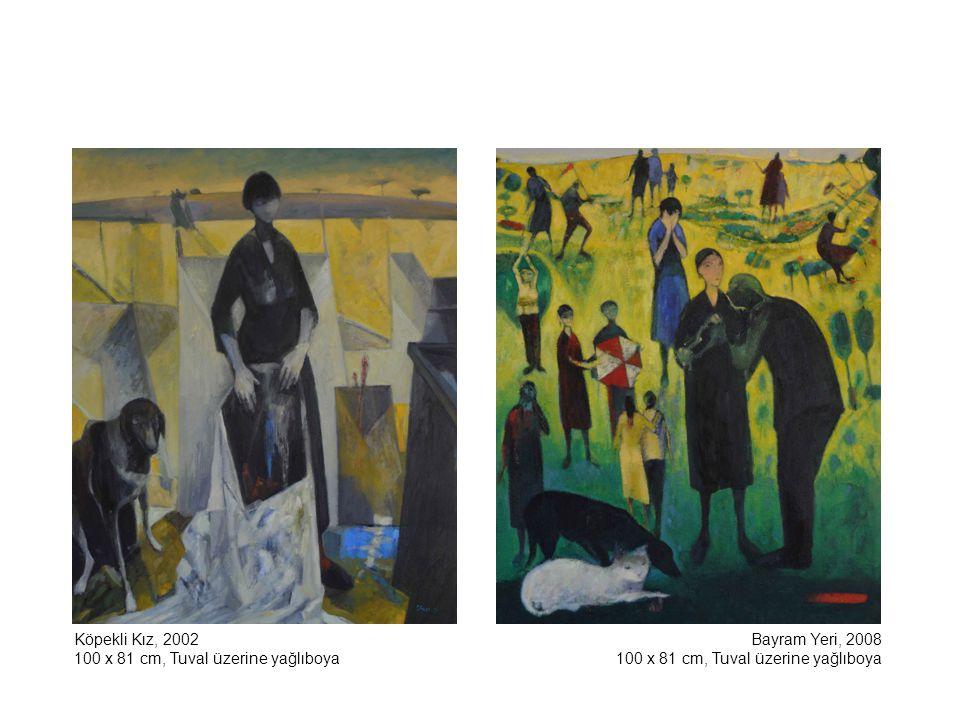 Köpekli Kız, 2002 100 x 81 cm, Tuval üzerine yağlıboya.