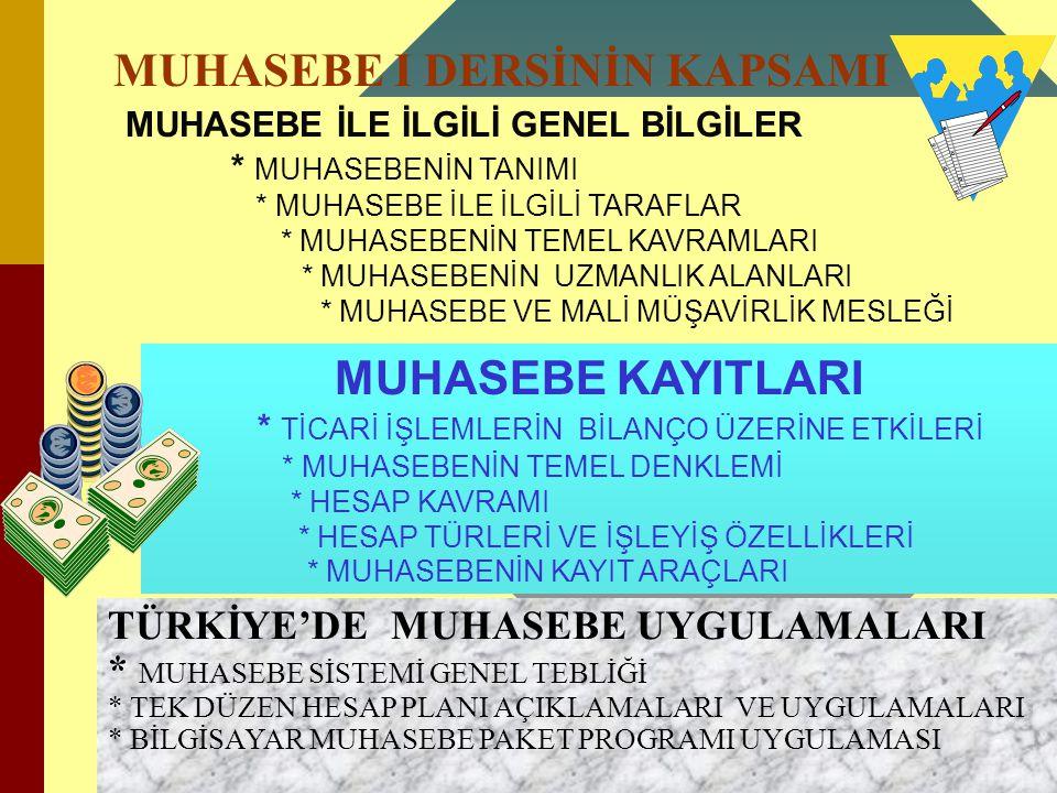 MUHASEBE I DERSİNİN KAPSAMI