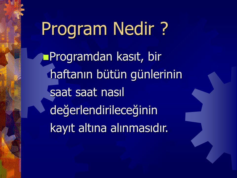 Program Nedir Programdan kasıt, bir haftanın bütün günlerinin