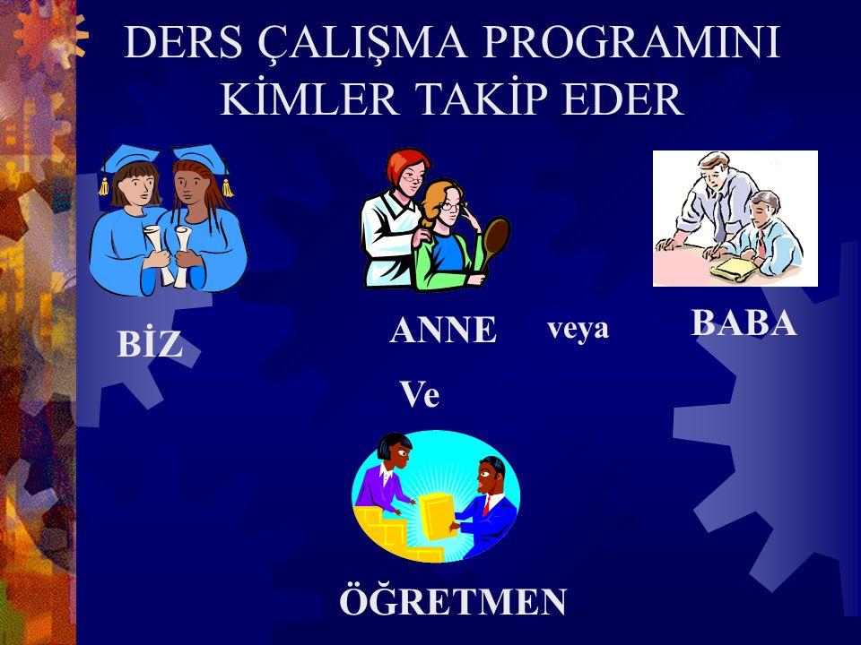 DERS ÇALIŞMA PROGRAMINI KİMLER TAKİP EDER