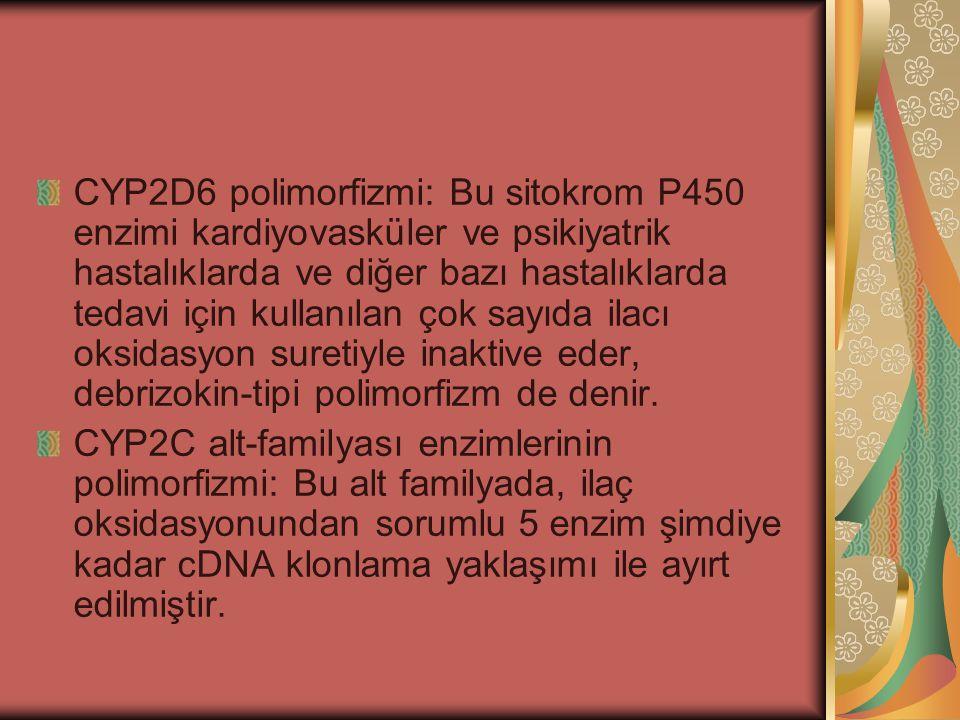 CYP2D6 polimorfizmi: Bu sitokrom P450 enzimi kardiyovasküler ve psikiyatrik hastalıklarda ve diğer bazı hastalıklarda tedavi için kullanılan çok sayıda ilacı oksidasyon suretiyle inaktive eder, debrizokin-tipi polimorfizm de denir.