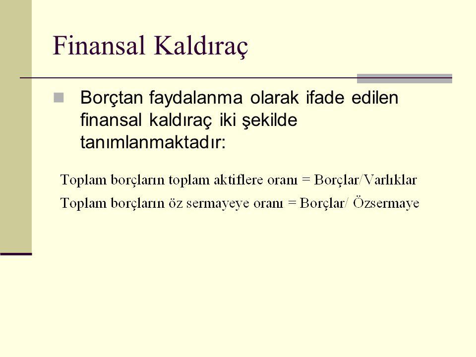Finansal Kaldıraç Borçtan faydalanma olarak ifade edilen finansal kaldıraç iki şekilde tanımlanmaktadır: