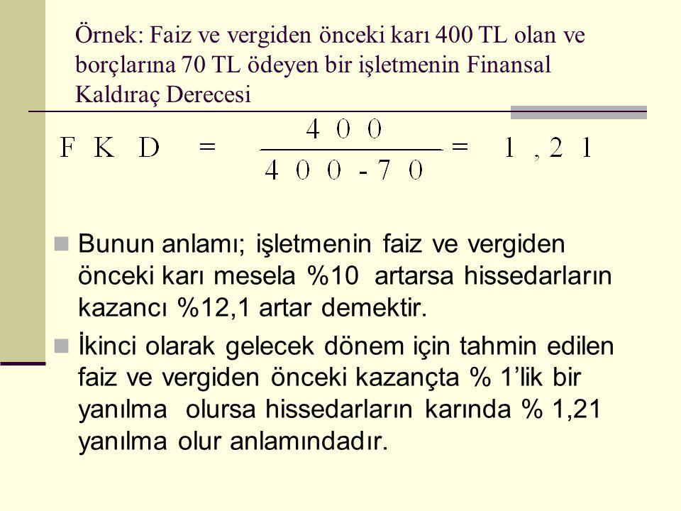 Örnek: Faiz ve vergiden önceki karı 400 TL olan ve borçlarına 70 TL ödeyen bir işletmenin Finansal Kaldıraç Derecesi