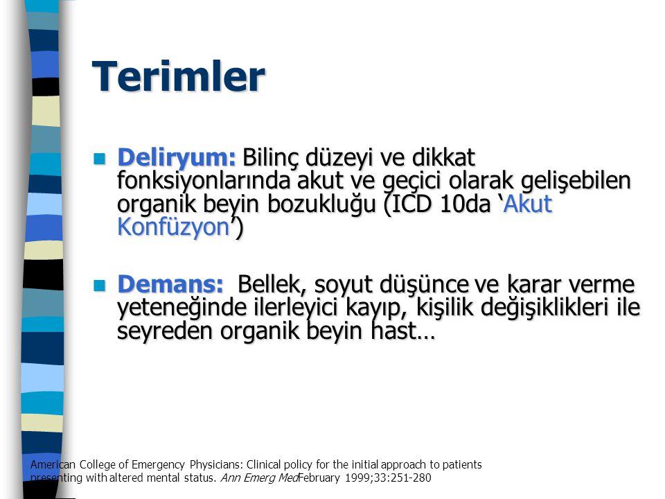 Terimler Deliryum: Bilinç düzeyi ve dikkat fonksiyonlarında akut ve geçici olarak gelişebilen organik beyin bozukluğu (ICD 10da 'Akut Konfüzyon')