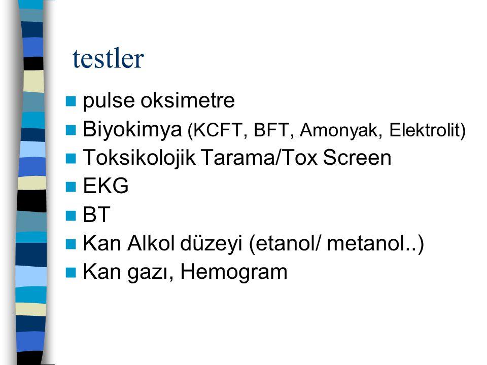 testler pulse oksimetre Biyokimya (KCFT, BFT, Amonyak, Elektrolit)
