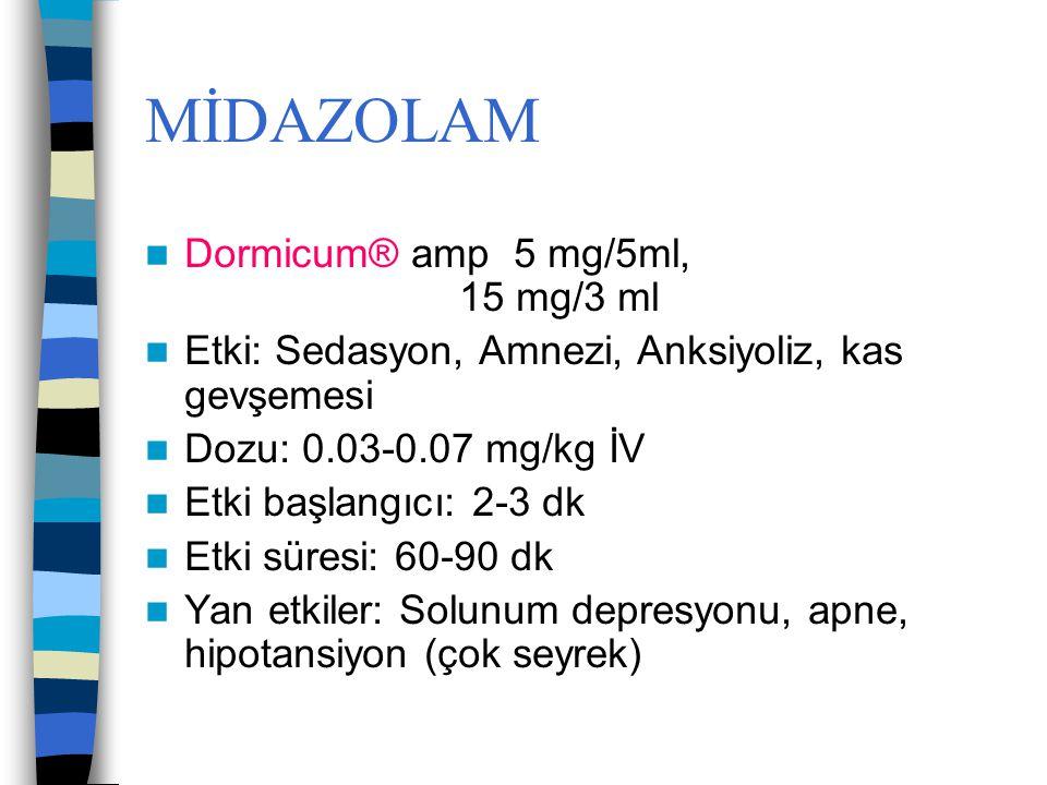 MİDAZOLAM Dormicum® amp 5 mg/5ml, 15 mg/3 ml