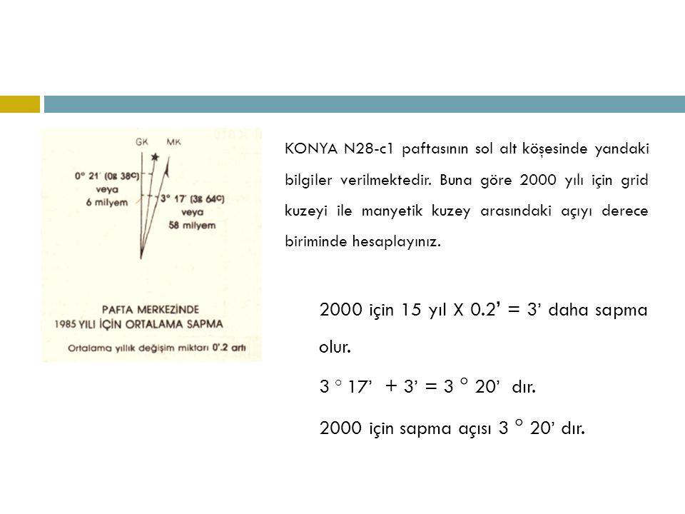 2000 için 15 yıl X 0.2' = 3' daha sapma olur.
