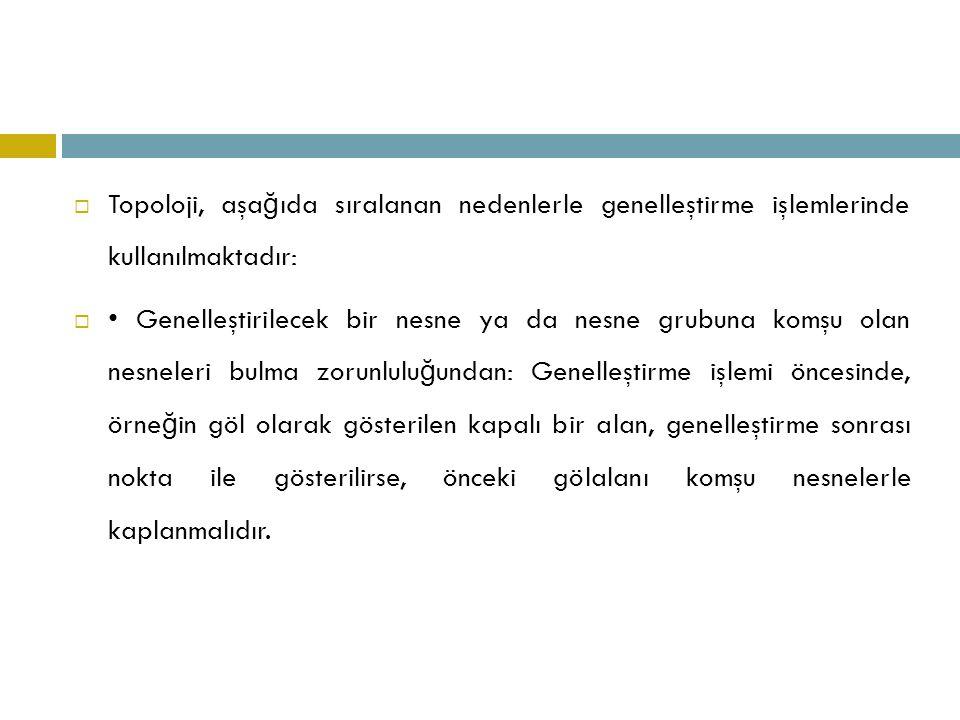 Topoloji, aşağıda sıralanan nedenlerle genelleştirme işlemlerinde kullanılmaktadır: