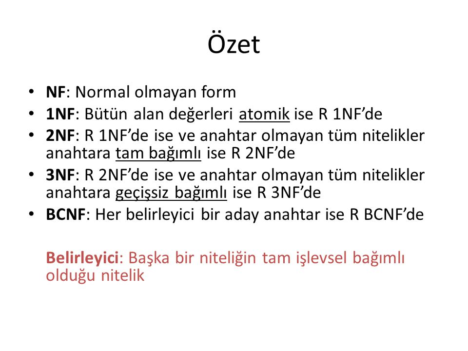 Özet NF: Normal olmayan form