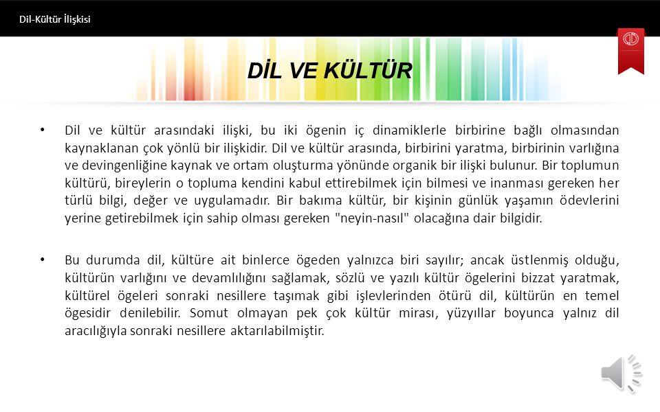 Dil-Kültür İlişkisi DİL VE KÜLTÜR.