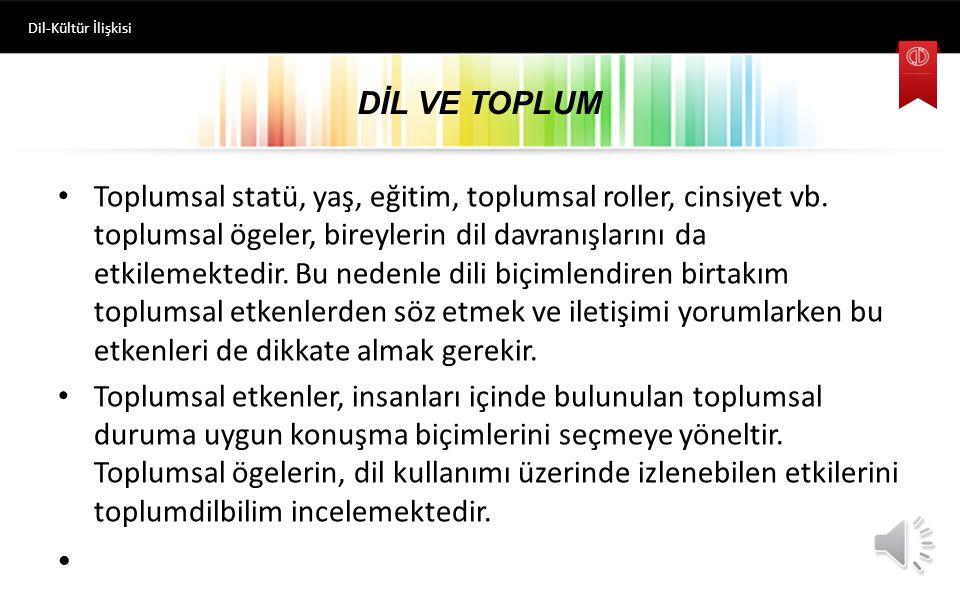 Dil-Kültür İlişkisi DİL VE TOPLUM.