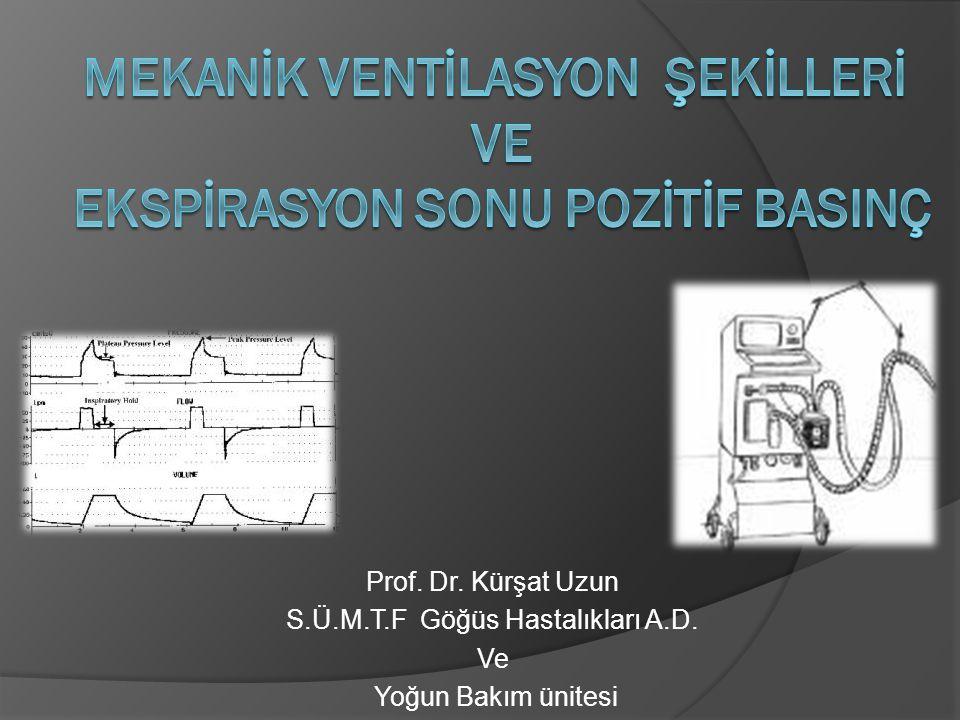 Mekanİk VentİlaSYON ŞEKİLLERİ ve ekspİrasyon SONU pozİtİf BasInç