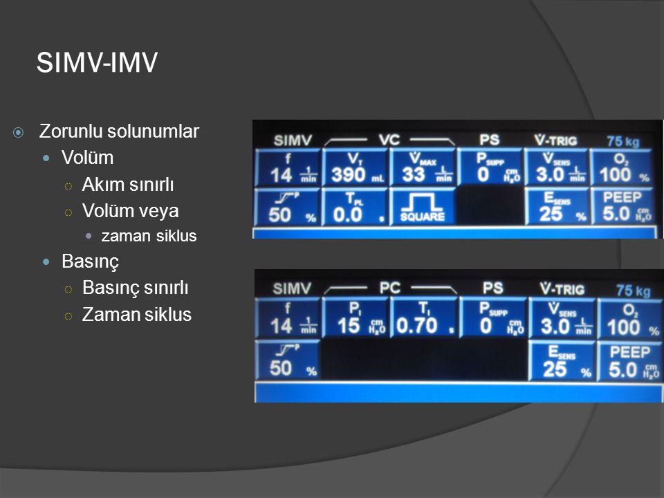 SIMV-IMV Zorunlu solunumlar Volüm Akım sınırlı Volüm veya Basınç