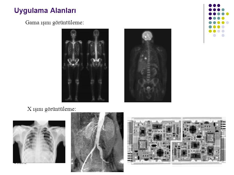 Uygulama Alanları Gama ışını görüntüleme: X ışını görüntüleme: