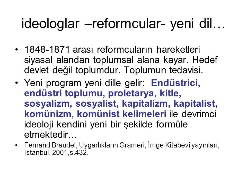 ideologlar –reformcular- yeni dil…