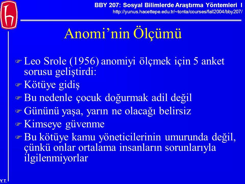 Anomi'nin Ölçümü Leo Srole (1956) anomiyi ölçmek için 5 anket sorusu geliştirdi: Kötüye gidiş. Bu nedenle çocuk doğurmak adil değil.
