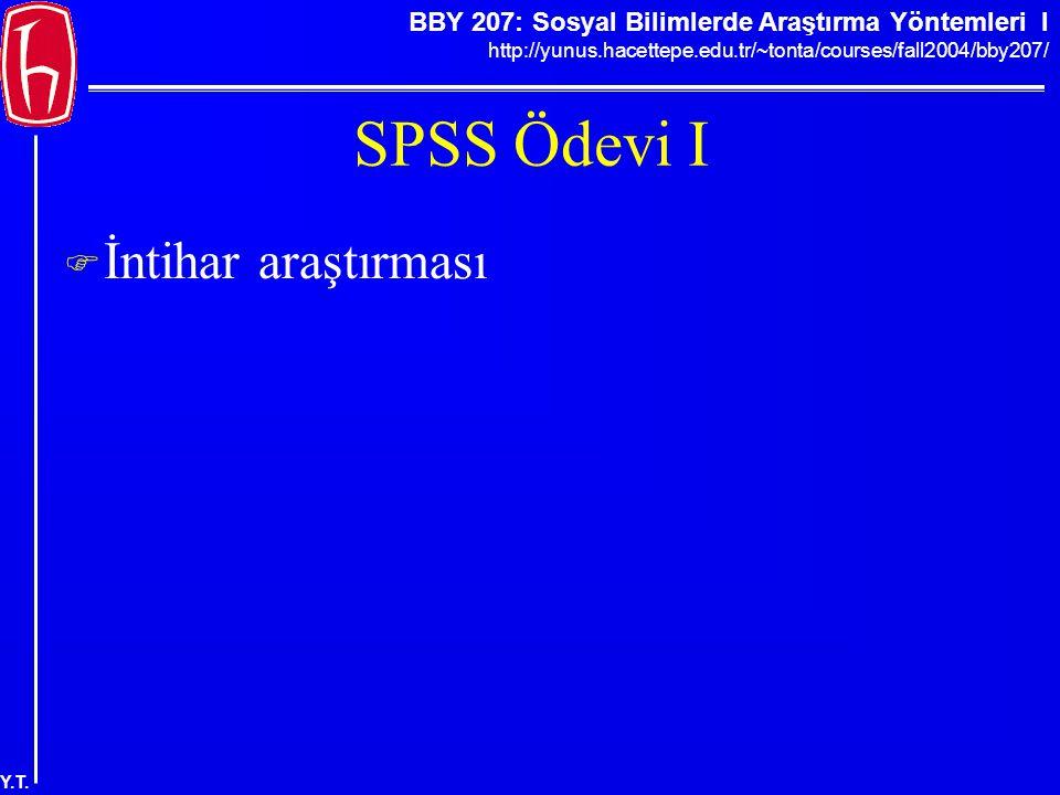 SPSS Ödevi I İntihar araştırması
