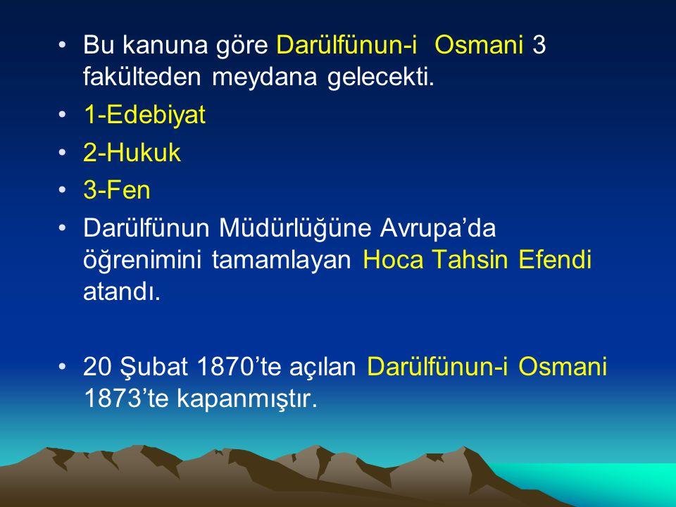 Bu kanuna göre Darülfünun-i Osmani 3 fakülteden meydana gelecekti.