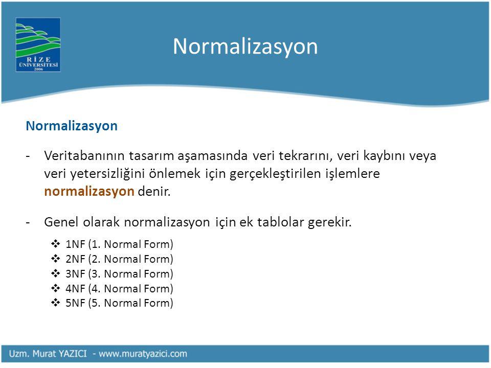 Normalizasyon Normalizasyon