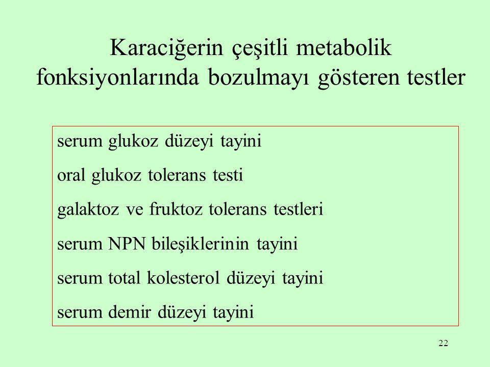 Karaciğerin çeşitli metabolik fonksiyonlarında bozulmayı gösteren testler