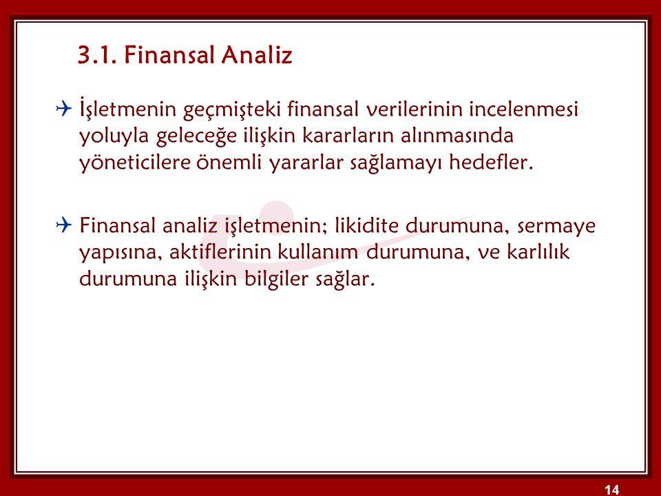 3.1. Finansal Analiz