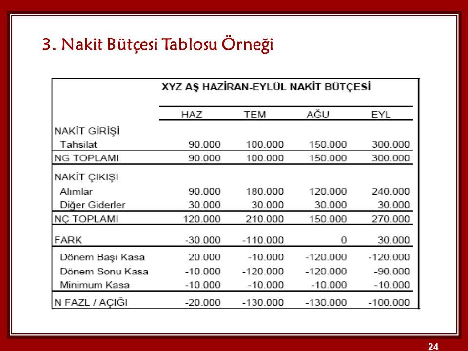 3. Nakit Bütçesi Tablosu Örneği